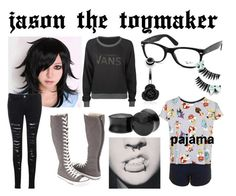 """jason the toymaker"" by newmotionlessjinxxgamer ❤ liked on Polyvore featuring Glamorous, Vans, Converse, Topshop, Ray-Ban, women's clothing, women, female, woman and misses"