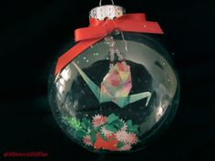 Origami Red~and~Green Crane Glass Christmas Ornament, by AmrcnWldFlwrDesigns on Etsy, $12.00
