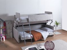 The Palazzo bunk bed system, an innovative wall bed design that transforms from a sofa to a bunk bed, provides multiple functions while maximizing space.