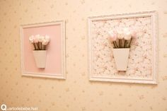 quadro flores para quarto de bebê Decoupage, Floral Rosa, Baby Art, Wall Art Designs, Box Frames, Tulips, Picture Frames, Diy And Crafts, Projects To Try