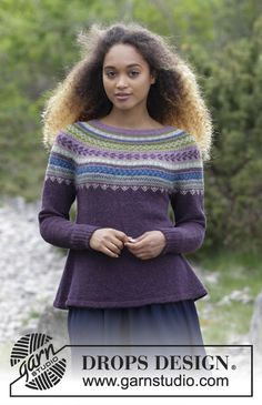 The set consists of knitted jumper with round yoke, multi-coloured Norwegian pattern and A-shape, worked top down. Hat with multi-coloured Norwegian pattern. The set is worked in DROPS Alpaca. Free pattern by DROPS Design. Ladies Cardigan Knitting Patterns, Jumper Patterns, Crochet Cardigan, Knitting Patterns Free, Free Knitting, Baby Knitting, Knit Crochet, Free Pattern, Drops Design
