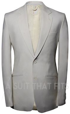 Ivory or White Distinguished 2-Piece Suit with ivory or white lining.