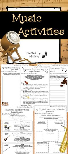 //////////////////PIN IT!///////////////////////  Create Your Own Musical Instrument!  Common Core Aligned! CCSS.ELA-Literacy.W.3.2 Write informative/explanatory texts to examine a topic and convey ideas and information clearly.  Students love this activity! Works well with any music, rhythm, or instrumental unit. Also great for substitute teachers to use or for Fun Fridays!