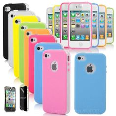 Hybrid Rubber Matte TPU Combo Hard Case Cover For iPhone 4G 4S Screen Protector