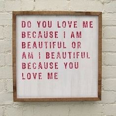'DO YOU LOVE ME' WOODEN PRINT #5th wedding anniversary gift ideas http://www.giftgenies.com/presents/do-you-love-me-wooden-print
