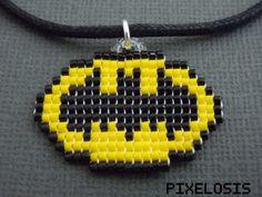Batman Symbol Necklace Handmade Seed Bead Pixelated от Pixelosis