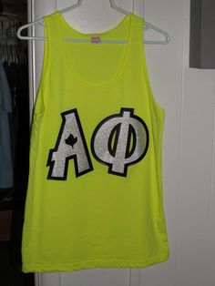 Neon is always fun. Ivy leaf accent makes these Alpha Phi letters unforgettable. SOS Ads JMU