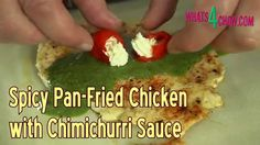 Spicy Pan Fried Chicken with Chimichurri Sauce - Hammered Chicken Chimic...