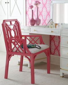 DIY Inspiration- transform good will or flea mkt found chair and make new & beautiful w magenta spray paint and fabric to reupholster.  ~ Marcus Design