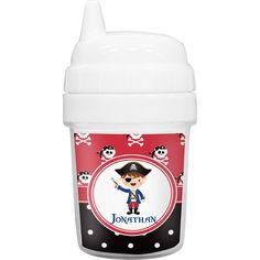sippy cups for toddlers | Pirate & Dots Baby Sippy Cup (Personalized) by Baby Milano
