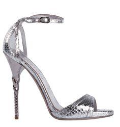 Sandalo in pitone argento con tacco scultura  -cosmopolitan.it