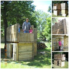 My son built this playhouse fort from treated wood pallets. It took him and the boys only about 3 hours to build. They may add a roof later as he is able to get more wood pallets. Third picture down on the right shows an inside view with a ladder to climb to the upper level. Bottom right picture shows a small balcony on the upper level.