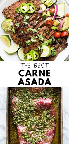 A delicious Carne Asada recipe made from marinated flank or skirt steak and cooked on the grill. Juicy, tender and a great authentic Mexican dish! Authentic Mexican Recipes, Mexican Dinner Recipes, Mexican Steak Recipe, Authentic Carne Asada Recipe, Mexican Dinners, Mexican Desserts, Skirt Steak Recipes, Steak Marinade Recipes, Flank Steak Recipes