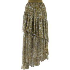 ZIMMERMANN Rife Tier Skirt (31.360 RUB) via Polyvore featuring skirts, floral knee length skirt, asymmetrical skirt, frilly skirt, gathered skirt и tiered ruffle skirt