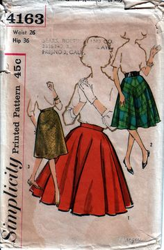 Vintage Pattern: Circle Skirt pattern 1960s Simplicity 4163, counted complete all pieces included  Waist = 26 Hip = 36  Why I was drawn to this heritage pattern: Mad Men Skirts! Choose your Fullness  Browse all my original vintage patterns here: https://www.etsy.com/shop/BootyVintage Combined shipping on additional patterns as low as 60 cents.  PS: If you want to adjust patterns for a fit tailored to your unique fit, I like the Curvy Sewing Collective tutorials: ...