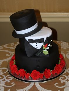 Top Hat and Tux Grooms cake by Meeka. This would be perfect for a wedding with two grooms!