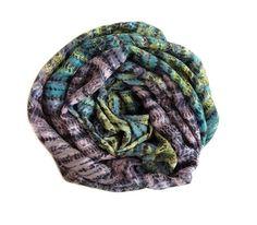striped scarf, chiffon scarf, pattern scarf, purple green scarf, spring scarf, silk scarf, summer scarf, women gift, print scarf, blanket