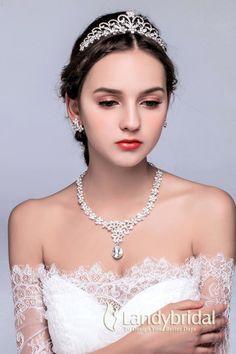 アクセサリー ティアラ イヤリング ネックレス 三点セット 豪華なデザイン ウェディング小物 結婚式 花嫁 JJ0015003