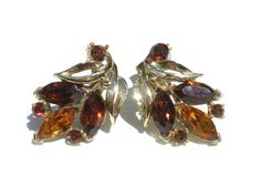 Amber & Gold Rhinestone Clip On Earrings on Gold by RibbonsEdge, $7.99