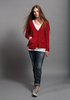 The Lilly Cardigan features a deep v neckline and is worked in Stocking stitch with Garter stitch bands on the bodice and sleeves. This cardigan is lightweight and loose fitting. Cardigan Pattern, Mulberry Silk, Garter Stitch, Hand Knitting, Stockings, Knits, Ravelry, Sleeves, Sweaters