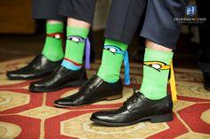 Groomsman Photo Ideas, Ninja Turtle Socks,  Fun wedding party ideas. TMNT