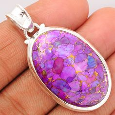 Copper Purple Arizona Turquoise 925 Sterling Silver Pendant Jewelry PCTP1550 - JJDesignerJewelry
