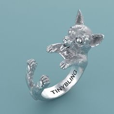 Chihuahua Cuddle Ring inSterling Silver or Gold. by TinyBling