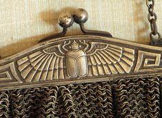 Vintage German Silver Mesh Purse Egyptian Scarab 1920s