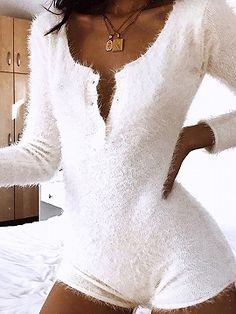 White Fluffy Bodycon Playsuit Women Ladies Sexy Long Sleeve Jumpsuit Bodysuit Sleep Romper Sexy One Piece Outfits Teenager Fashion Trends, Look Fashion, Fashion Outfits, Fashion Usa, Feminine Fashion, Cheap Fashion, Fall Fashion, Fashion Ideas, Fashion Inspiration