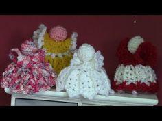 Haken _ tutorial : kerstengeltjes Crochet Angels, Crochet Hats, Christmas Bells, Christmas Crafts, Knitting Videos, Raspberry, Barbie, Youtube, Christmas Angels