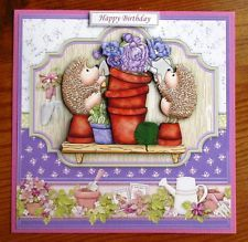 3D Decoupage CARD TOPPER *~* Gardening Hedgehogs *~*