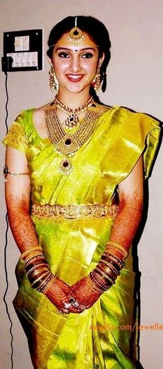 Actress Sridevi in Her Bridal Green Saree and jewallary