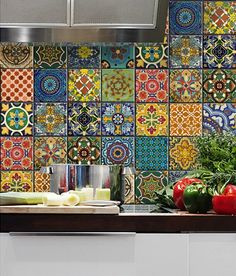 Mexican Talavera Wall Decals - Taking inspiration from Mexican Talavera, these decal tiles are the perfect way to change the look of your existing tiles at a minimal cost. Perfect for renters. Brilliant!