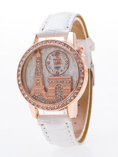 Triumphal Arch Eiffel Tower Rhinestone Watch - WHITE