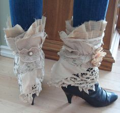 Upcycled Shabby Chic Tattered Spats in Ecru. Steampunk. Victorian. Repurposed boot toppers with doily and flower accents