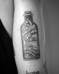 Ship in a bottle tattoo made by Rachael Ainsworth @ Sticks & Stones, Berlin…