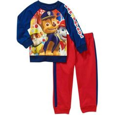 Paw Patrol Baby Toddler Boy Jersey Top and Fleece Pants Outfit Set - Walmart.com