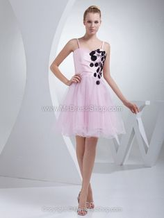 New Custom Made Satin Tulle Pink Appliques Beading Spaghetti Strap Short A-Line Cocktail Dress Party Dress Party Dresses 2014, Elegant Party Dresses, Affordable Prom Dresses, Best Prom Dresses, Girls Party Dress, Cheap Dresses, Homecoming Dresses, Dresses 2016, Dress Party
