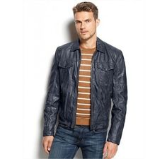JAQUETA MICHAEL KORS MEN'S LA PLATA FAUX LEATHER MOTO JACKET INDIGO #JAQUETA #MICHAEL KORS