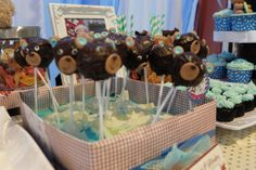 Adorable teddy bear cake pops at a boy 1st birthday party!  See more party ideas at CatchMyParty.com!  #partyideas #1stbirthday