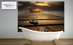 Panel szklany do łazienki POMOST O ZACHODZIE Clawfoot Bathtub, Bathroom, Paper Board, Washroom, Full Bath, Bath, Bathrooms