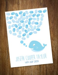 Whale Bubble Fingerprint Kit from Life is Peachy. Kit includes blank print, 3 ink pads, instruction card and postage within Australia