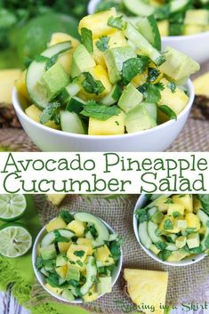 Avocado Pineapple Cucumber Salad recipe healthy Mexican inspired side dish with cilantro and lime Simple vegan paleo whole 30 no added sugar Fresh and perfect for summer. Healthy Summer Recipes, Healthy Salad Recipes, Vegetarian Recipes, Pineapple Recipes Healthy, Healthy Mexican Recipes, Cucumber Recipes, Cucumber Salad, Recipes With Cucumbers, Recipes With Cilantro