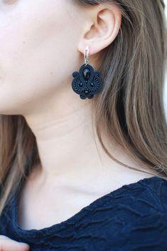 Soutache small black silver crystal earrings Beaded | Etsy Gothic Earrings, White Earrings, Leather Earrings, Crystal Earrings, Crystal Beads, Crystals, Jewelry For Her, Jewelry Art, Beaded Jewelry