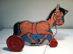 Vintage 1940's Wood Horse Pull Toy by Hill Toys and Bells, Conn.