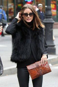 veste en fourrure noire, pantalon en cuir noir, chemise noire Veste  Fourrure Noire, 31f40ffe4af