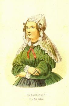 Litho voorstellende een redersvrouw in Vlaardingse dracht, portret ten halve lijve. Vooraanzicht, een vrouw gekleed in een groen jak, met op het hoofd een gouden oorijzer met gouden krullen en dito mutsenspelden, daarboven een lange kanten kap, uithangend over de schouders. Uitgegeven door P.G. van Lom (ca. 1860-1870). #ZuidHolland #Vlaardingen