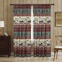 """Aubrie Home Woodland 84"""" Window Curtains 2-Panel Pair Rustic Cabin Bear Moose, Brown Teal - GreyDock.com Lined Curtains, Window Curtains, Brown Teal, Rustic Room, Curtain Sets, Rustic Style, Home Accents, Window Treatments"""