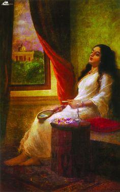 In contemplation , Raja Ravi Varma ,