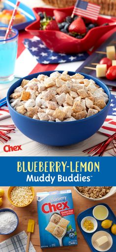Light the sparklers and add Blueberry-Lemon Muddy Buddies to the table for your 4th of July party this year! Made with NEW Gluten-Free Blueberry Chex, real lemon flavor, and a touch of sweetness, Blueberry-Lemon Muddy Buddies is your 4th of July in the making.